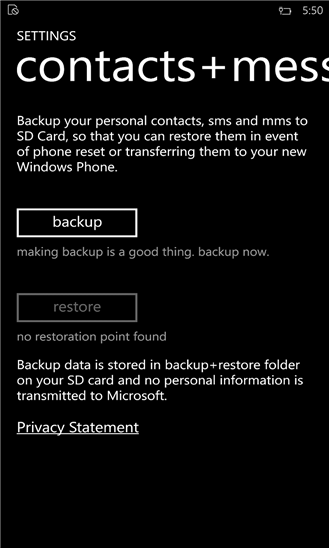 backup contacte mesaje windows phone 8.1