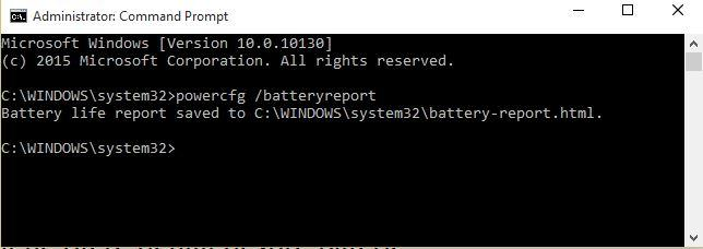 raport baterie command prompt