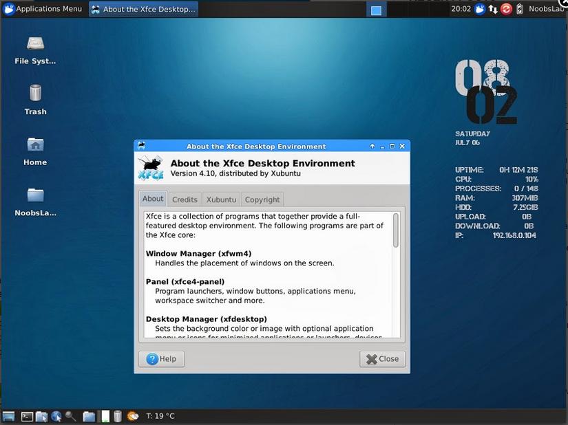 print screen interfata xfce 4.10