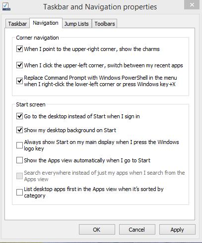 fundal desktop in start screen si pornire direct in desktop windows 8.1