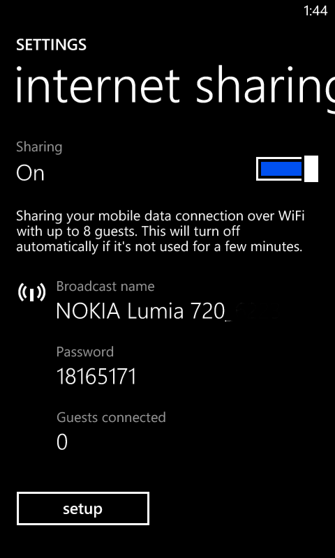internet sharing lumia 720