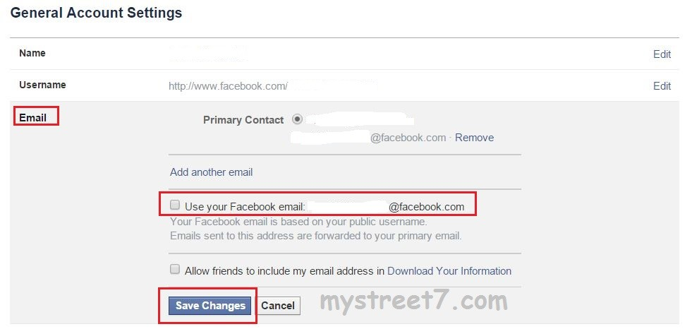 dezactivare mail facebook 2